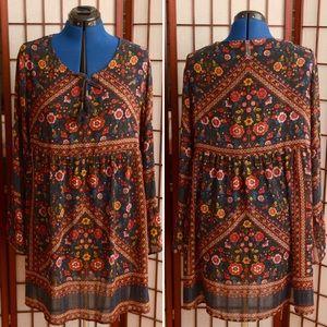 Adorable bohemian paisley babydoll dress